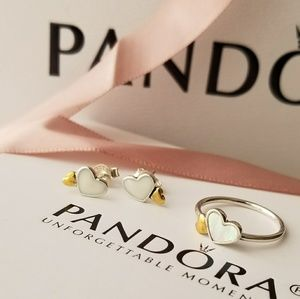 Pandora heart ring and earrings